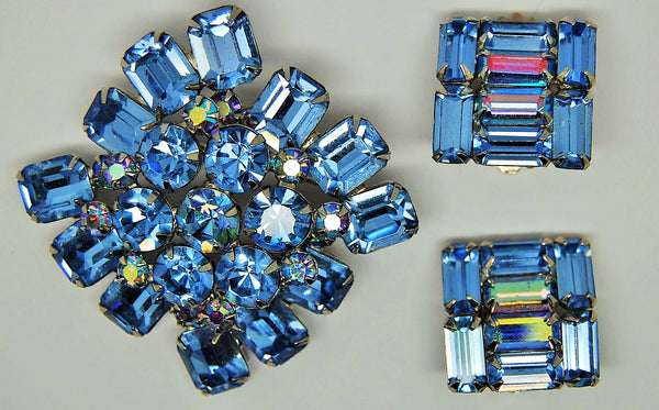 Weiss Blue Pink Flash Iridescent High-End Brooch & Earrings 1960 - Mink Road Vintage Jewelry