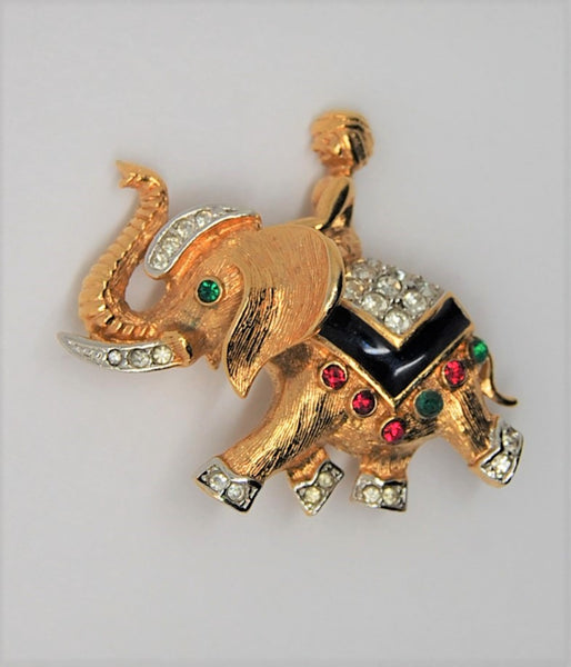 A & S Attwood Sawyer Maharajah Elephant Vintage Figural Brooch