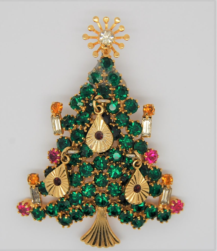 St Labre Rhinestone Christmas Holiday Tree Figural Brooch - 1960s