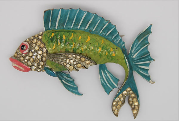 Art Deco Jose Rodriquez Designed Fish Figural Brooch 1940