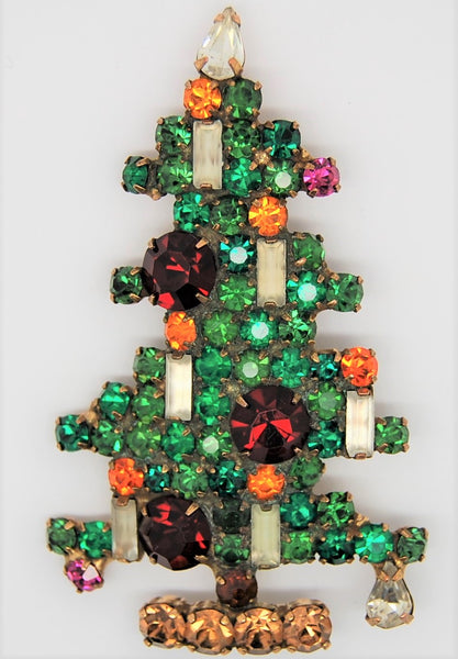 Weiss 6 Candle Christmas Tree Figural Brooch 1950s