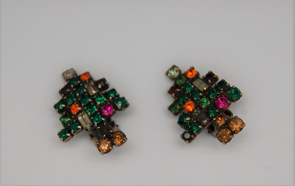 Weiss Christmas Tree Vintage Candle Earrings - 1950s