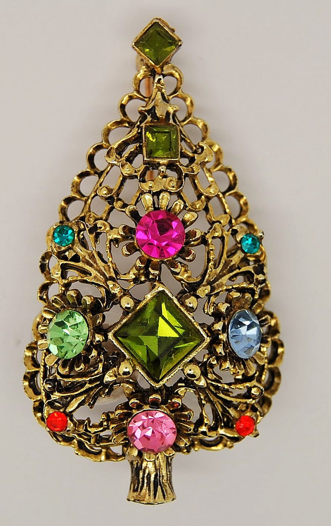Doddz Dodds Christmas Tree DIY Green Keystone Kit Figural Brooch 1960s - Mink Road Vintage Jewelry