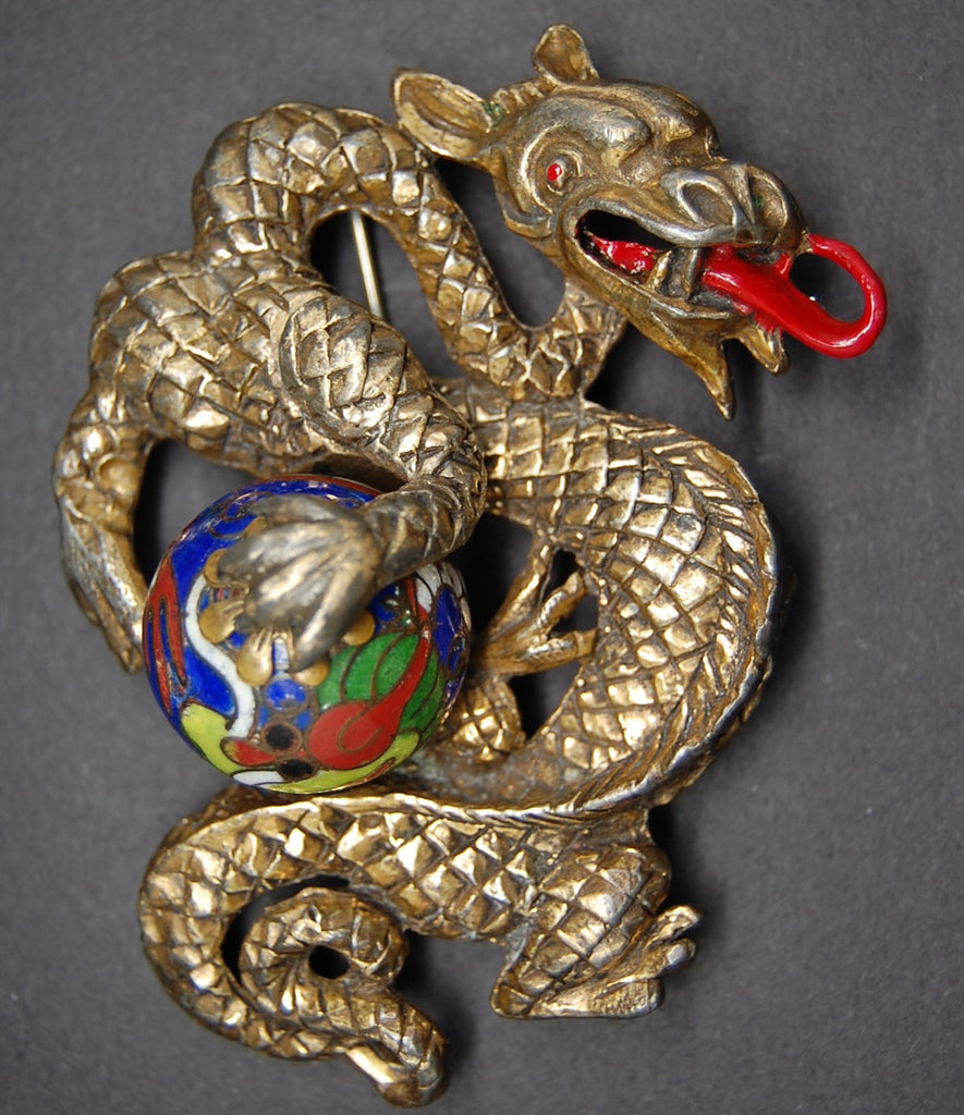 Rice Weiner Dragon Cloisonne Egg Louis C. Mark Brooch Pin - Mink Road Vintage Jewelry