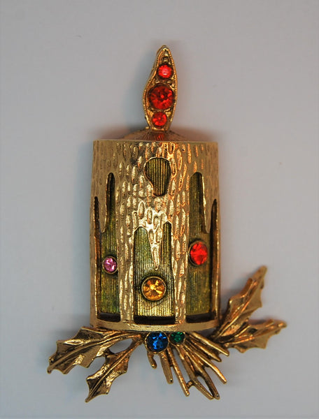 ART Holiday Candle Figural Christmas Brooch 1960s