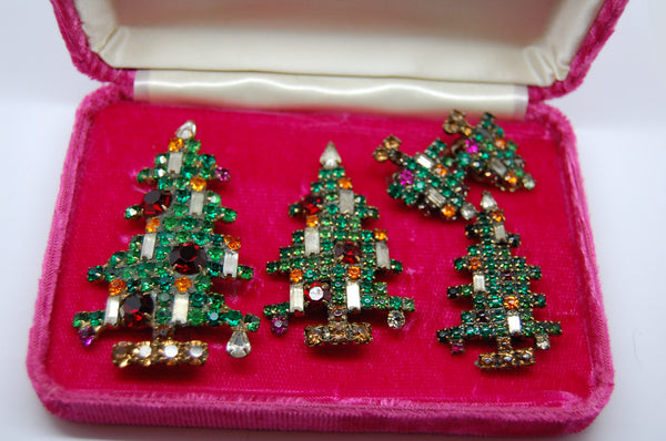 Weiss Candle Tree Boxed Set Christmas Brooches + Earrings 1950s