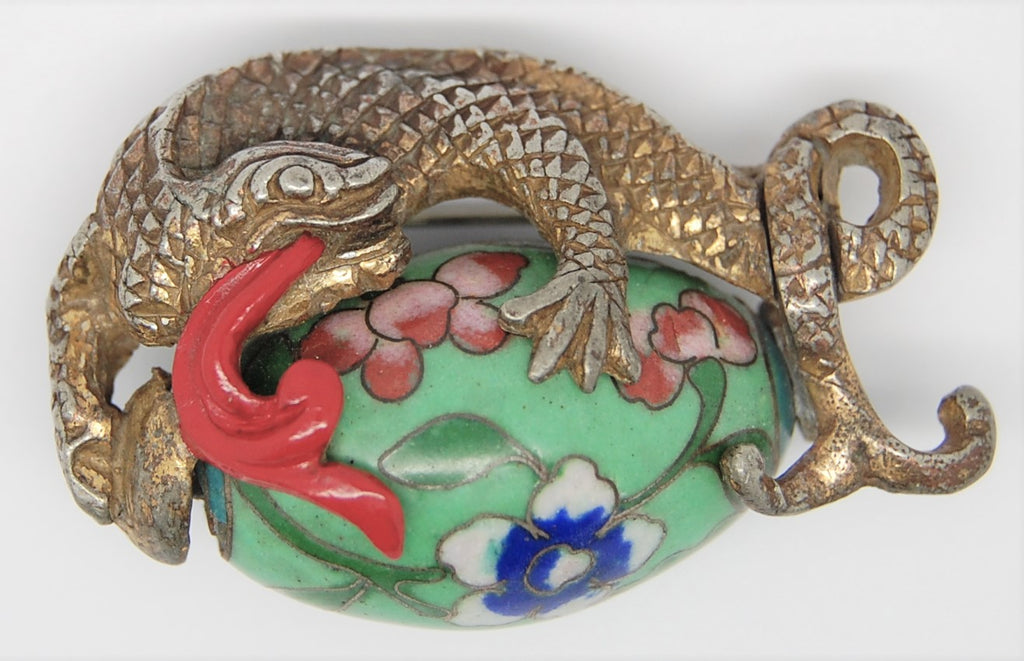 Rice Weiner Dragon Cloisonne Bead Brooch Qun Li Louis C Mark
