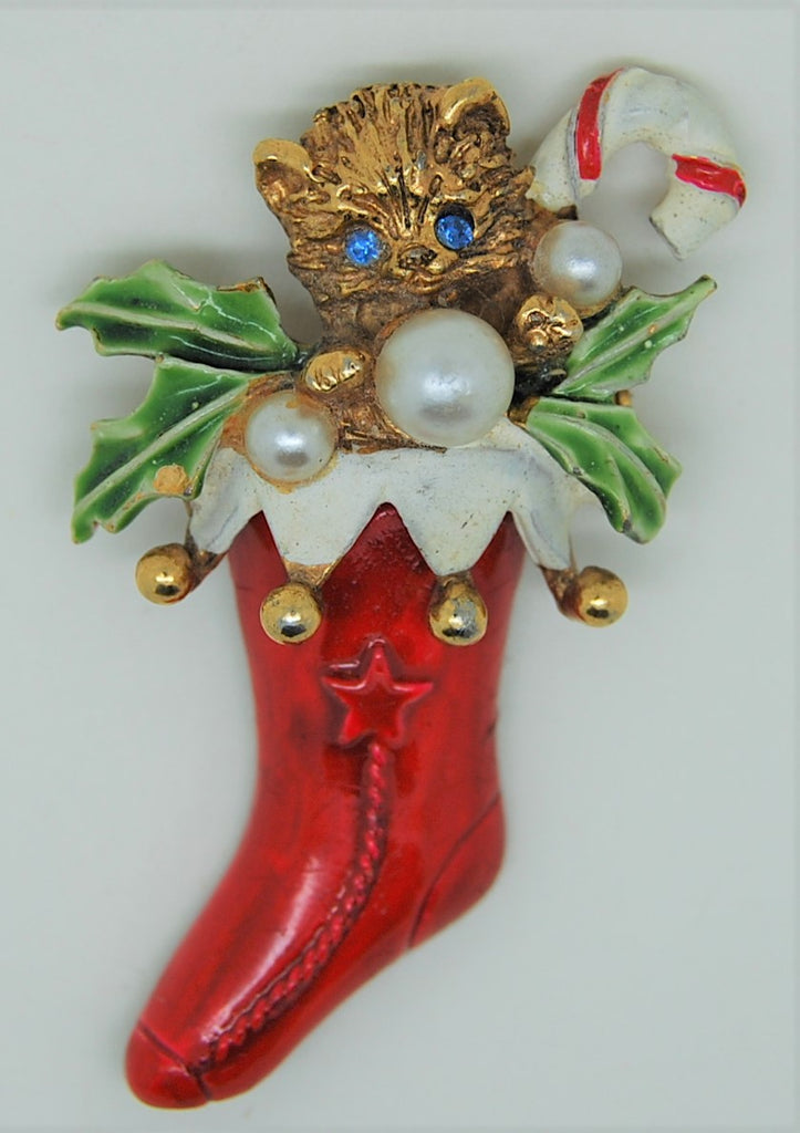 ART Holiday Christmas Stocking Kitty Cane Figural Brooch