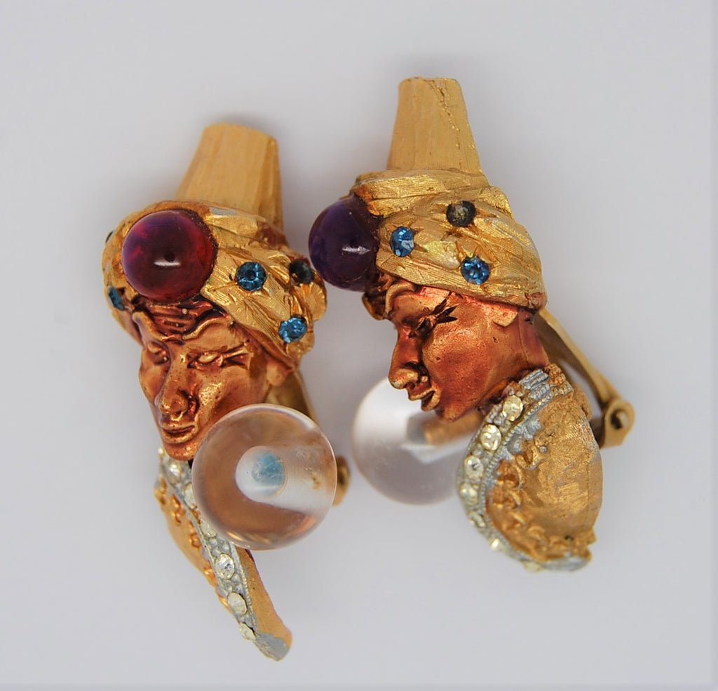HAR Genie Fortune Teller Crystal Ball Aladdin Earrings 1955