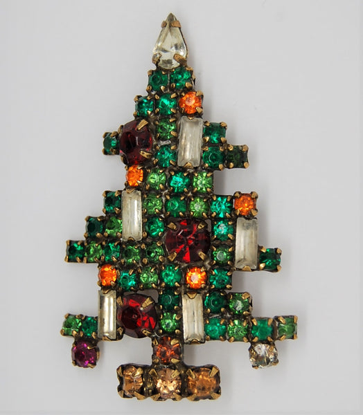 Weiss 5 Candle Rhinestone Christmas Tree Figural Brooch