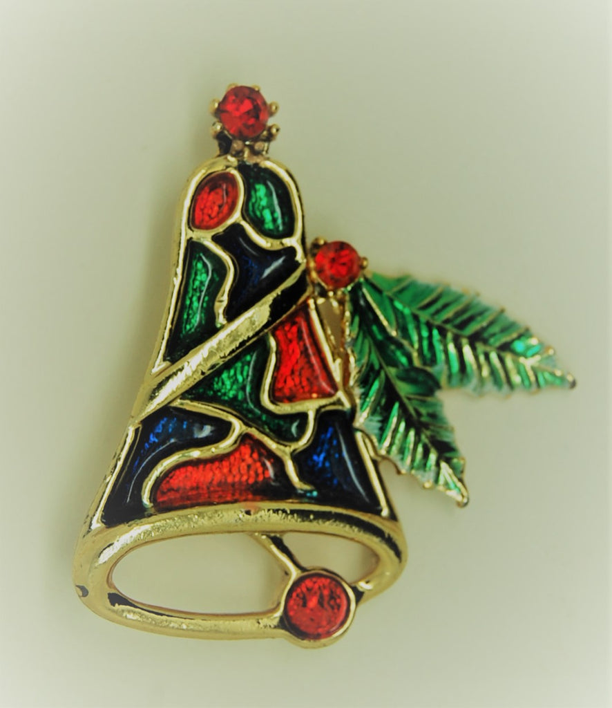 Beatrix Christmas Stained Glass Bell Vintage Figural Brooch - 1950s