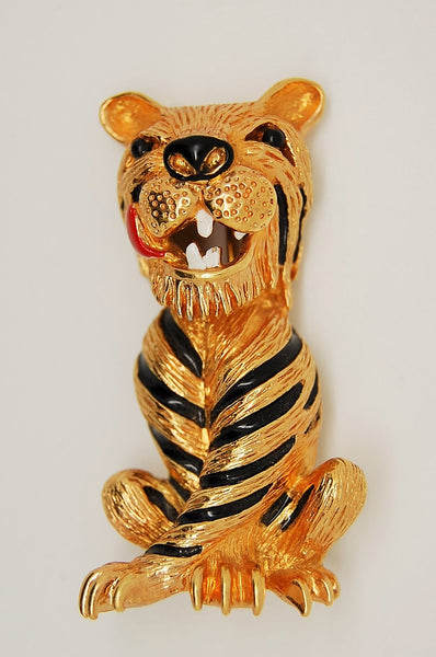 Panetta Smiling Tiger Black Enamel Stripes Figural Brooch Pin - Mink Road Vintage Jewelry