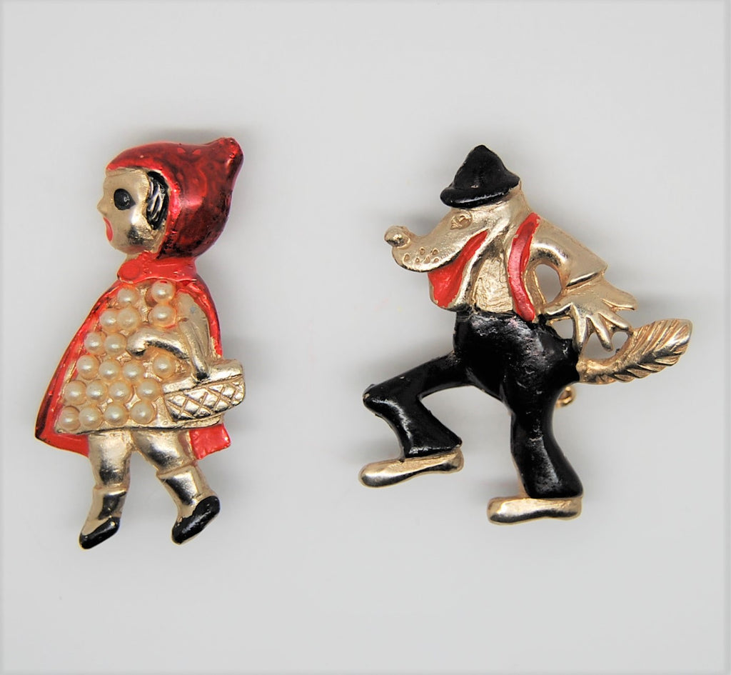 Coro Big Bad Wolf & Little Red Riding Hood Nursery Rhyme Scatter Figural Brooches