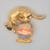 Gold Crown Fishing Kitty Cat Fish Bowl Jelly Belly Vintage Figural Brooch