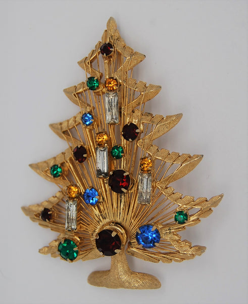 Brooks Christmas Harp and Candle Holiday Tree Figural Brooch