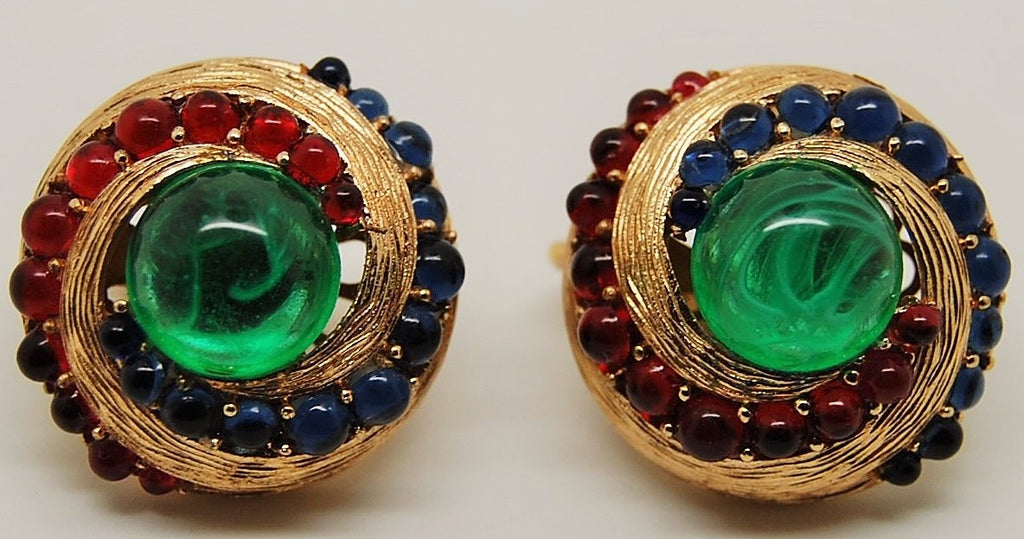 Trifari Jewels of India Moghul Sapphire Ruby Evita Earrings 1960s - Mink Road Vintage Jewelry