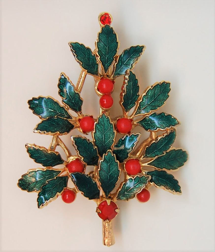Lia Christmas Holly & Berries Enamel Tree Figural Brooch