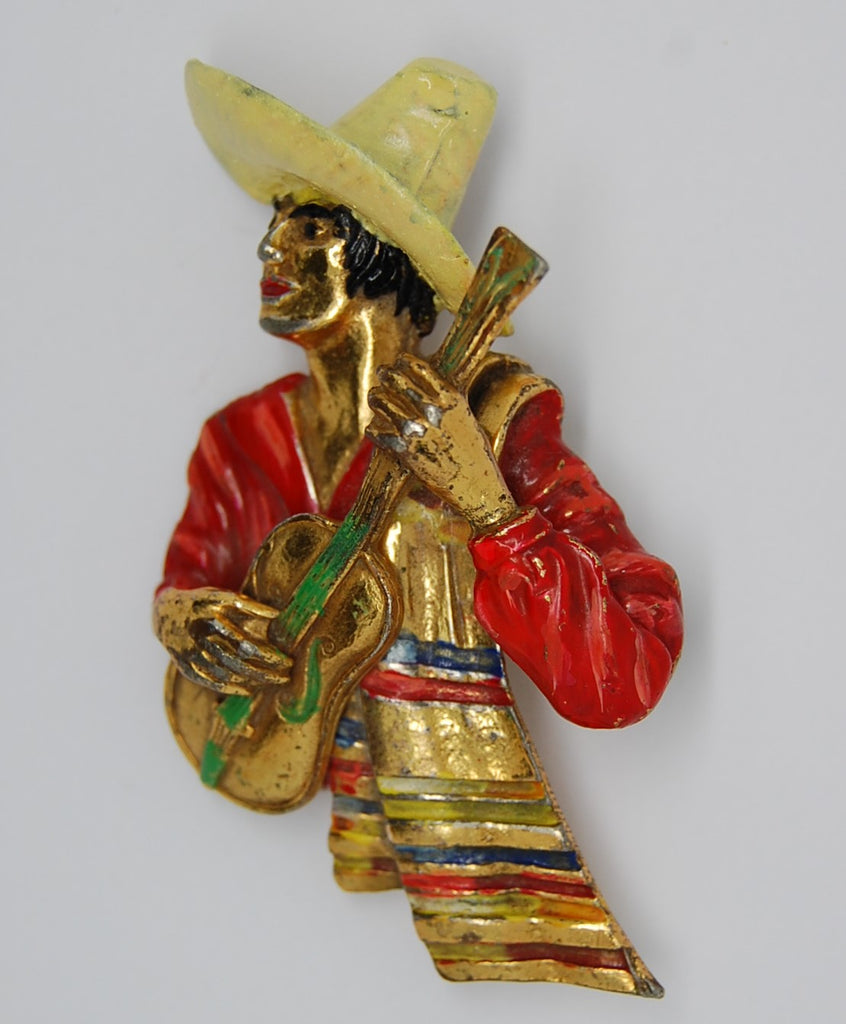 Bauman Massa Musician Figural Celebration of the West Brooch - 1940s