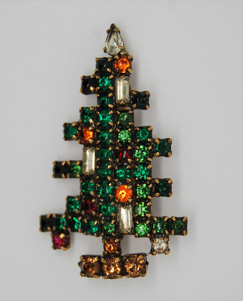 Weiss 3 Candle Rhinestone Christmas Tree Figural Brooch