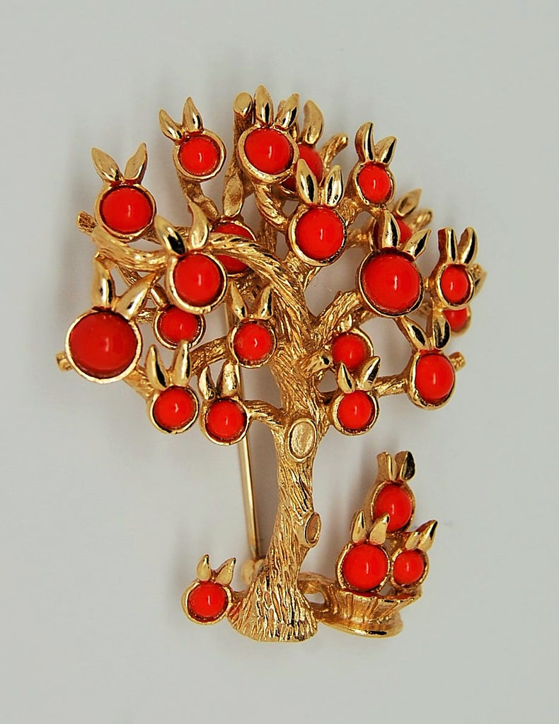 Boucher Orange Fruit Tree and Basket Figural Brooch - 1965 - Mink Road Vintage Jewelry