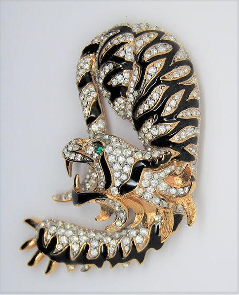 A & S Attwood & Sawyer Mystical Beast Dragon Tiger Vintage Figural Pin Brooch