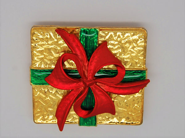 Christmas Package AS Ribbon Figural Pin Brooch
