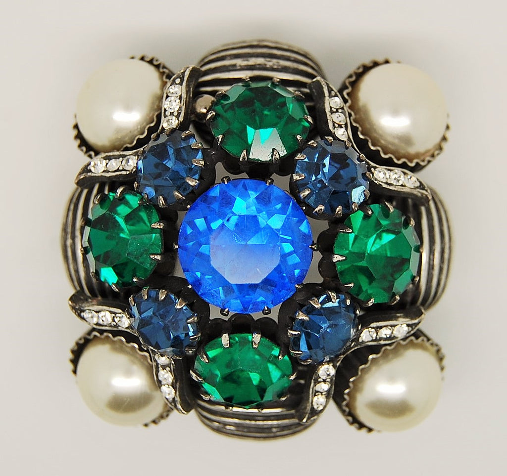 Vendome Stacked Blue Green Pearl Vintage Brooch - Mink Road Vintage Jewelry