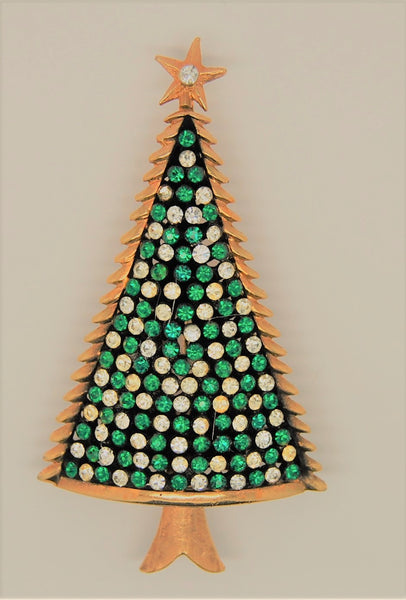 Christmas Tree Figural Green Clear Stones 1980s Brooch