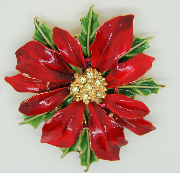 ART Holiday Christmas Poinsettia Enamel Rhinestone Figural Brooch
