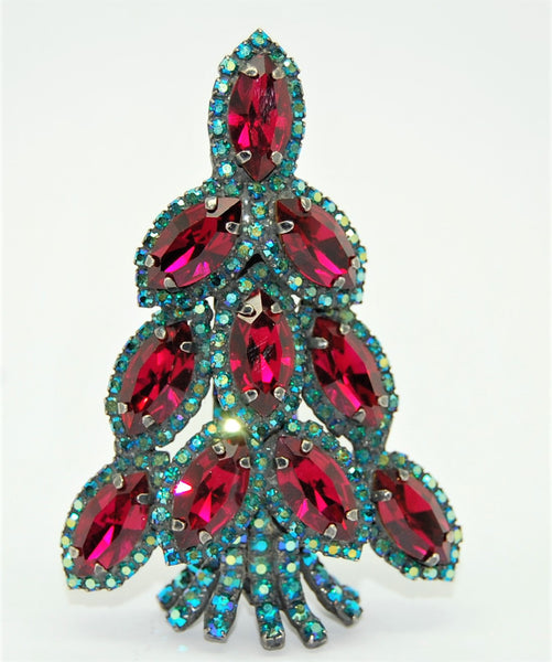 Bauer Christmas Tree The Navette Ruby Aurora  Holiday Brooch - Rare