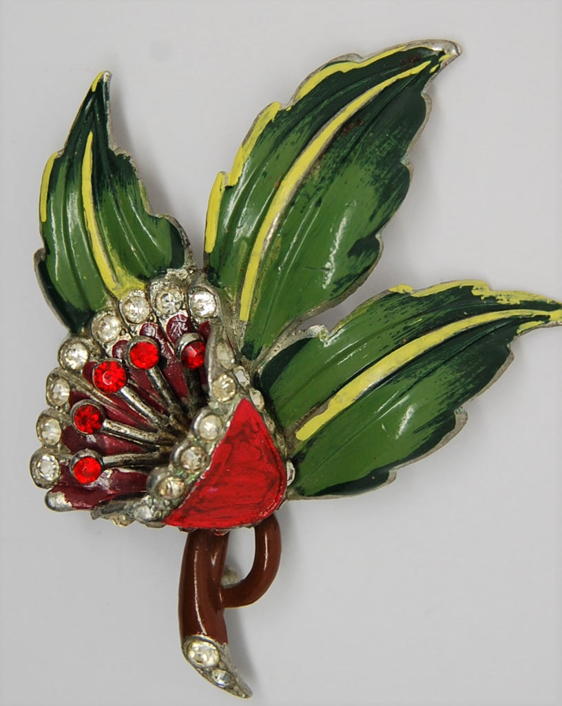 Coro Single Blossom Floral Pot Metal Vintage Figural Pin Brooch 1940