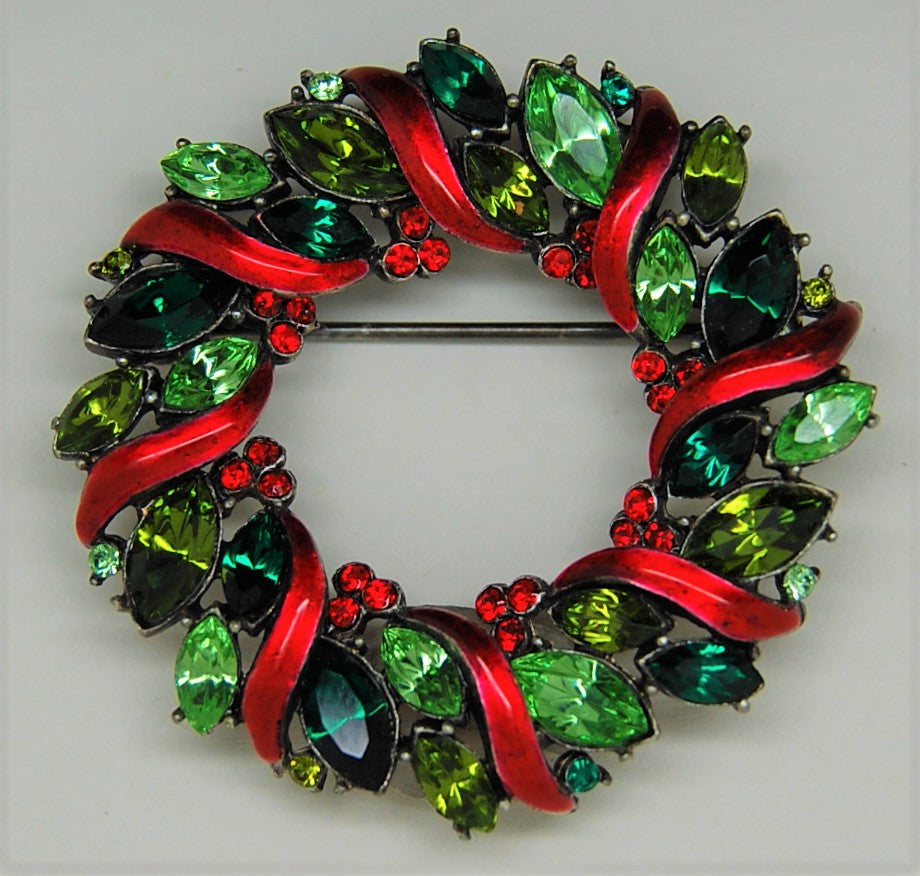 Christmas Wreath Green Navettes and Enamel Vintage Brooch
