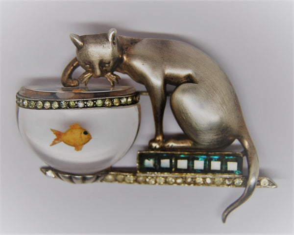 Aquilino Cat Fishing Jelly Belly Goldfish Vintage Figural Brooch - 1946