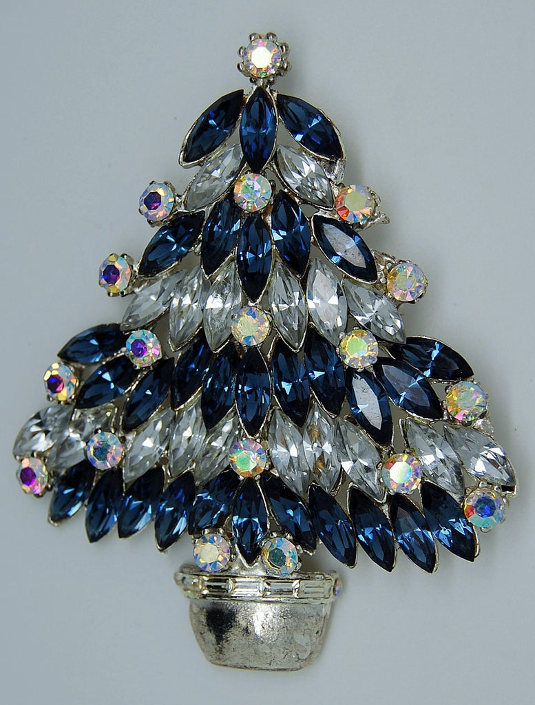 Eisenberg Ice Sapphire & Ice Christmas Tree Brooch - Mink Road Vintage Jewelry