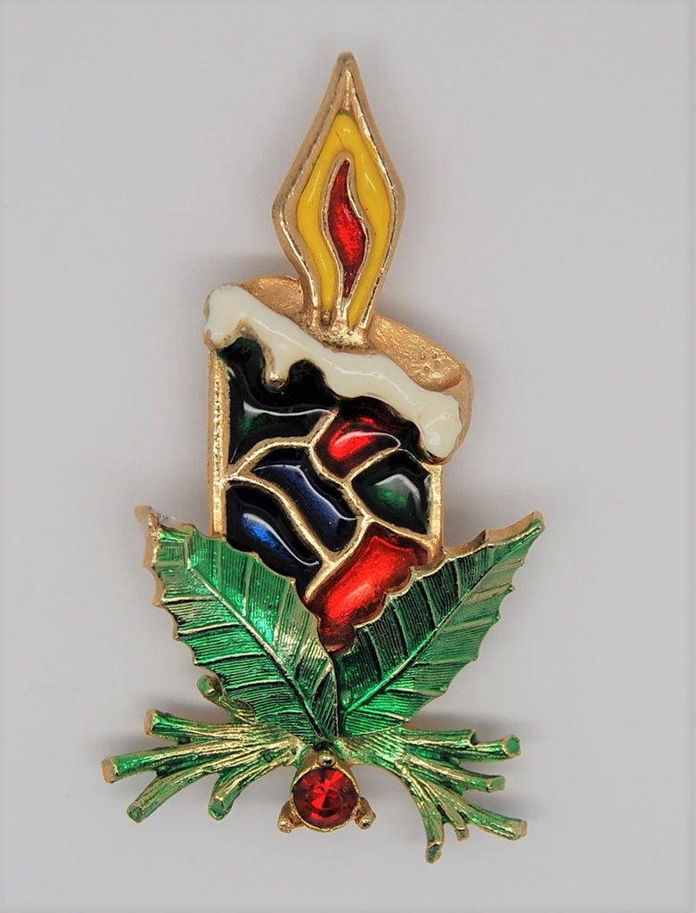 Beatrix Christmas Candle Holly Stained Glass Enamel Vintage Figural Brooch