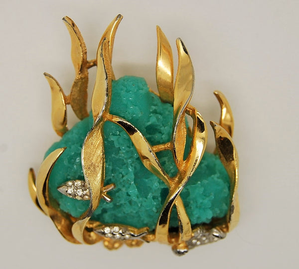 Boucher Under the Sea Coral Fish 1940s Figural Brooch - Mink Road Vintage Jewelry