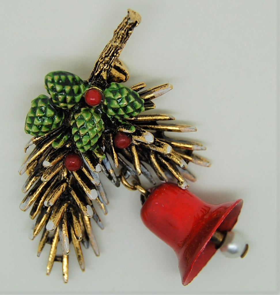 ART Holiday Bell Pinecone Pearl Christmas Figural Brooch