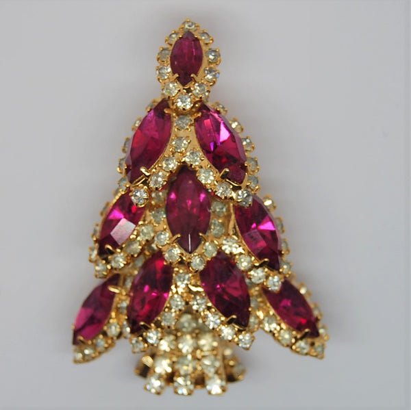 Bauer Christmas Tree Ruby Navette Holiday Figural Brooch