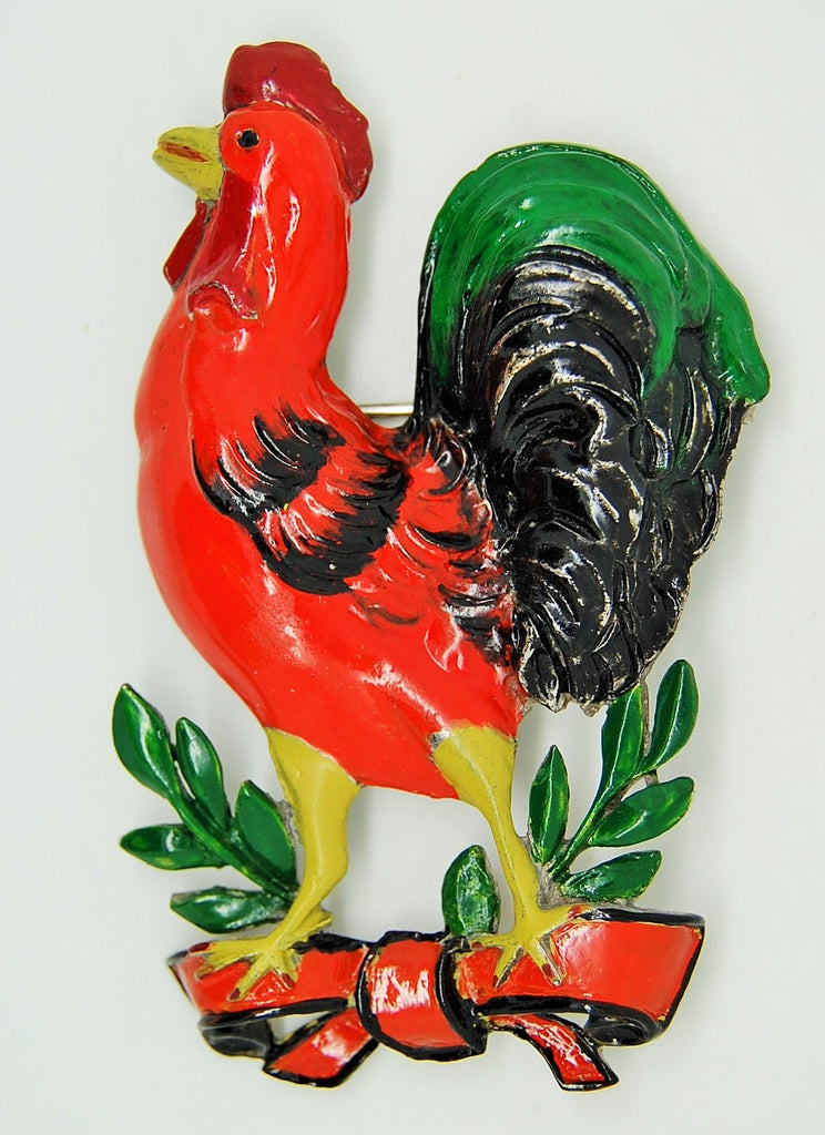 Rooster Celebration of the West Pot Metal 1942 Brooch - Mink Road Vintage Jewelry