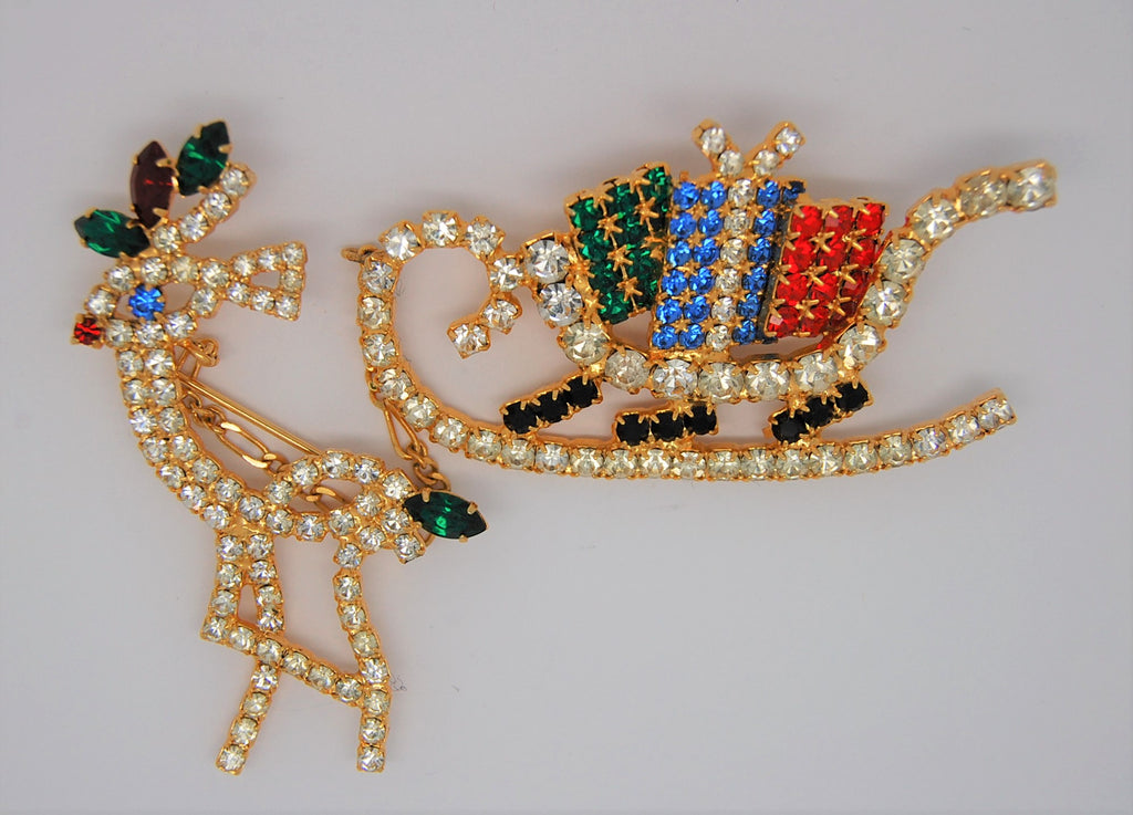 Christmas Rudolph & Sleigh Rhinestone Figural Chatelaine Brooch 1970s