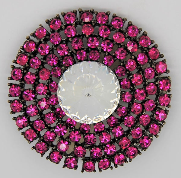 Weiss Fuschia Ruby Clear Million-Carat Vintage Rivloli Brooch