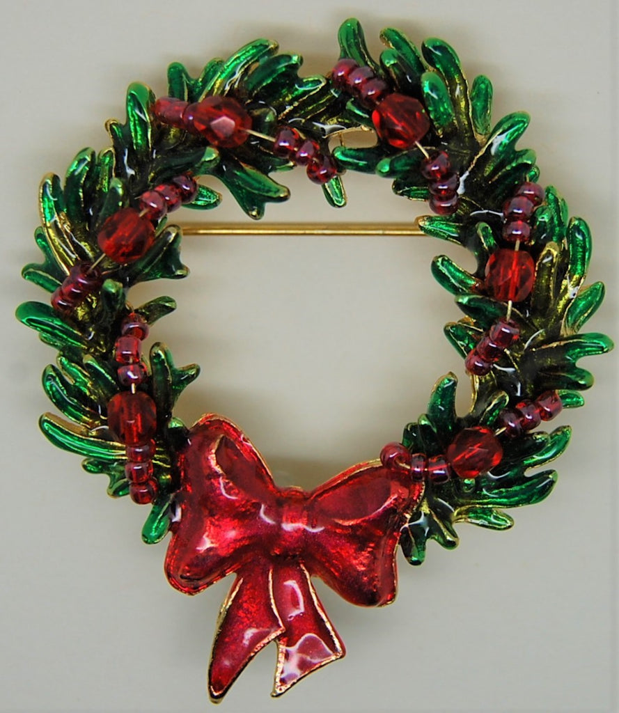 TC Christmas Wreath Ruby Beads and Enamel Vintage Holiday Brooch