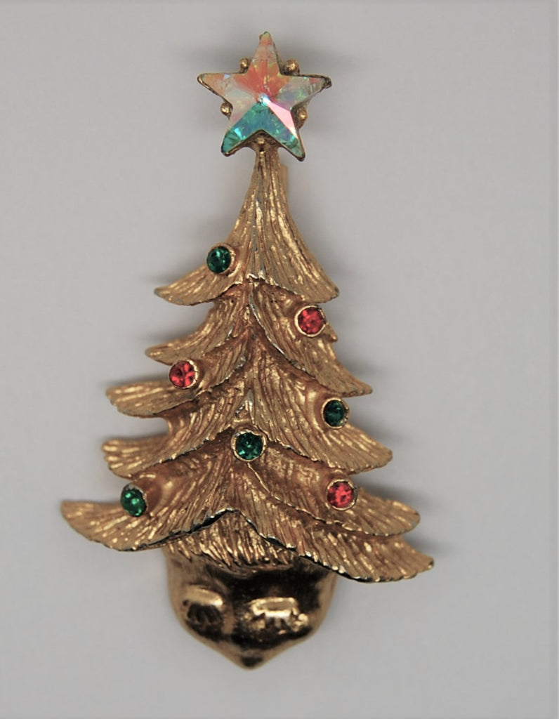Tancer Eyelash Elf Guardian Angel Figural Christmas Tree Brooch