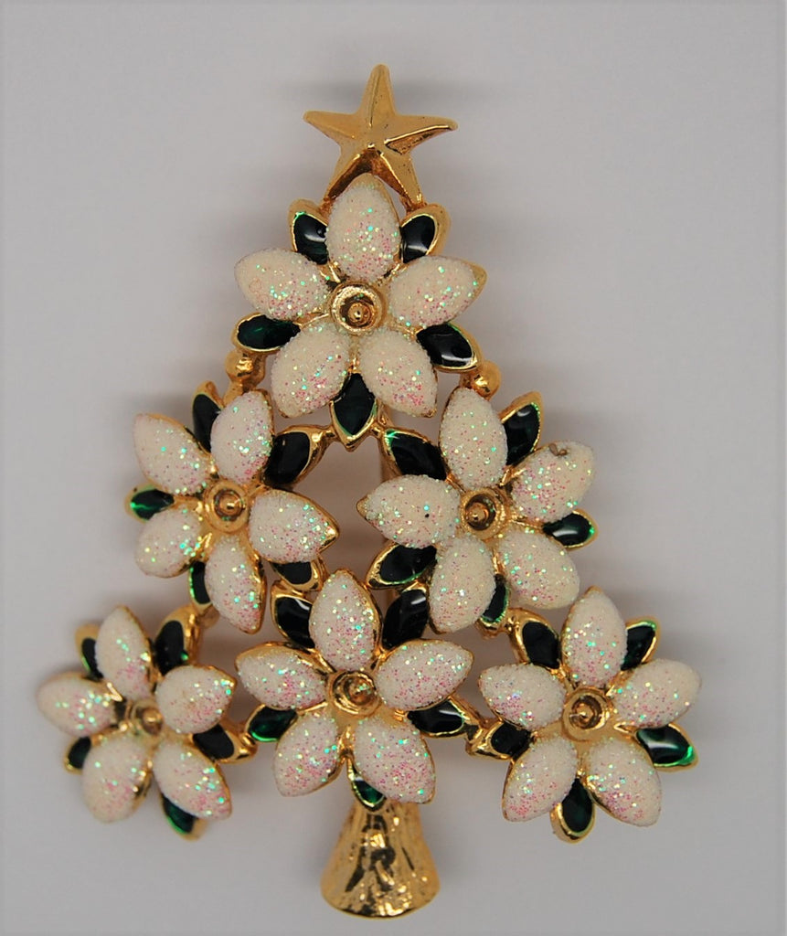 Christmas Poinsettia Figural Tree Brooch - 1980s