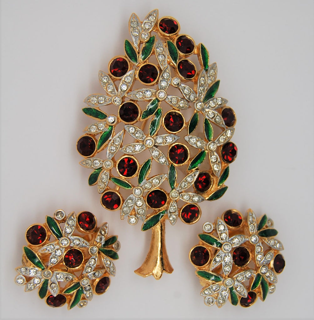 Sphinx Christmas Ruby and Clear Pave Rhinestone Tree Brooch  & Earrings - Mint