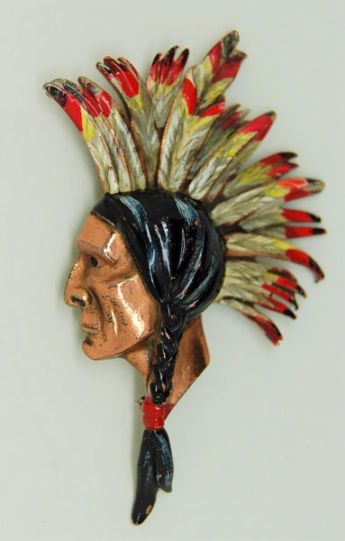 Cecil DeMille Rice Weiner Northwest Mounted Police Indian Brave Figural Brooch