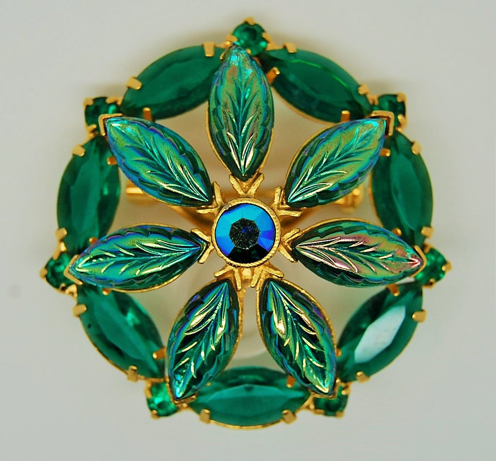 Floral Circle Iridescent Leaves Unsigned Kramer Brooch 1960s - Mink Road Vintage Jewelry