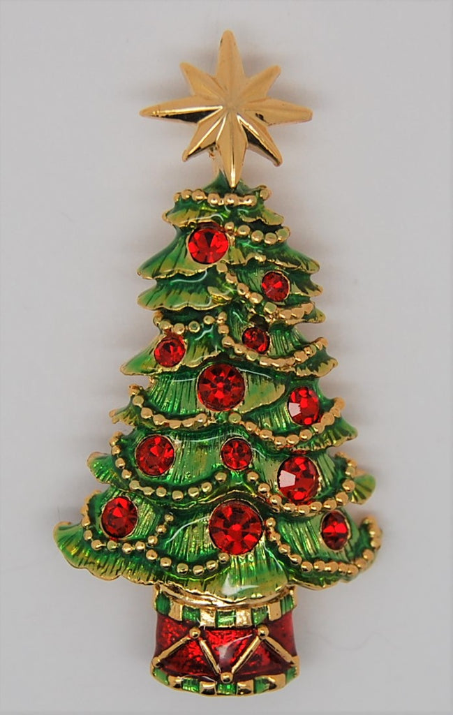 Radko Christmas Holiday Tree Garland Enamel Vintage Figural Brooch