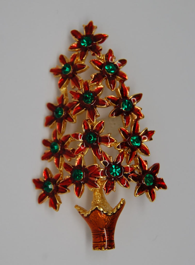 Christmas Poinsettia Tree Figural Brooch - Pre-dates 1980s