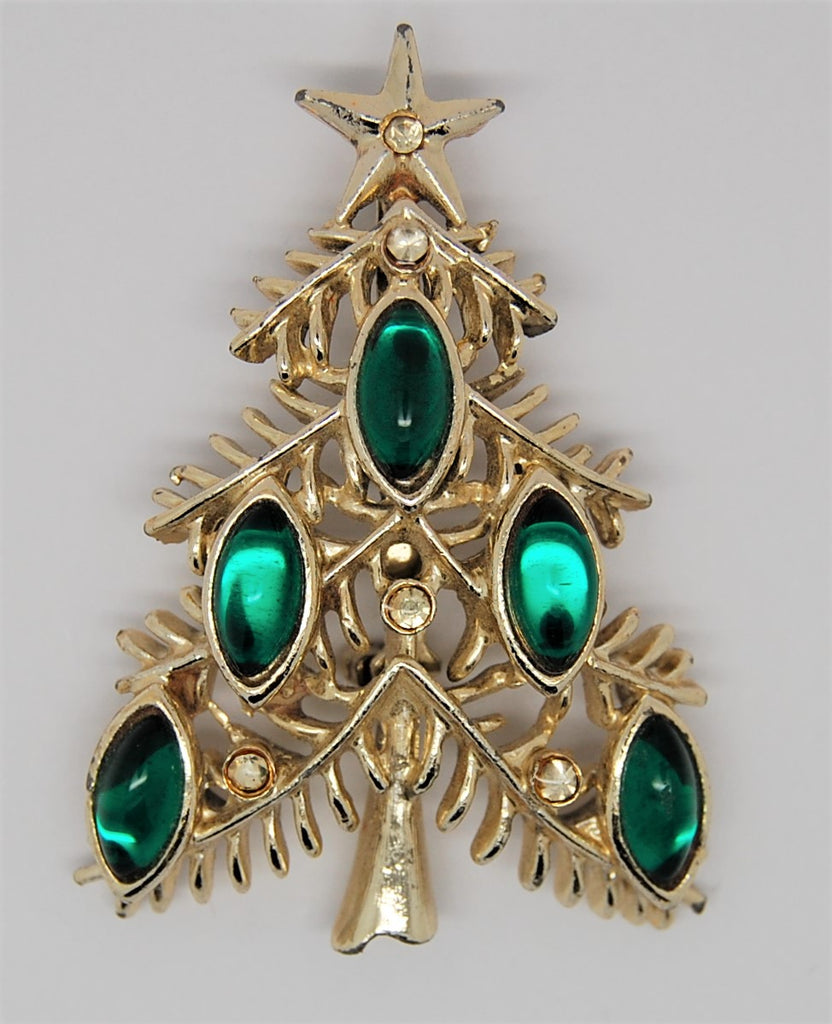 Tancer II Green Navette Christmas Tree Figural Brooch - 1950s